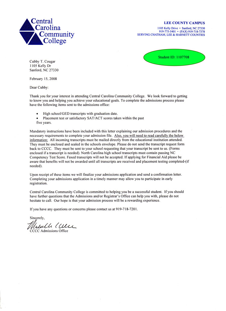 college admissions cover letters