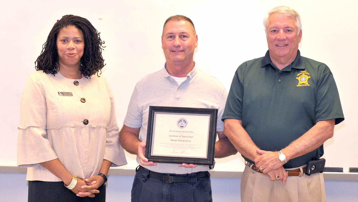 Certificate of Appreciation from the Harnett County Sheriff's Office