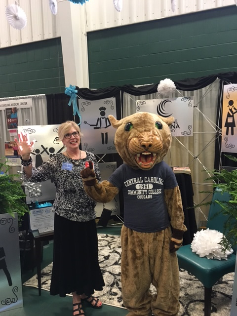Charlie the Cougar was also in attendance along with other CCCC recruiting staff to assist with manning the booth and promoting CCCC.