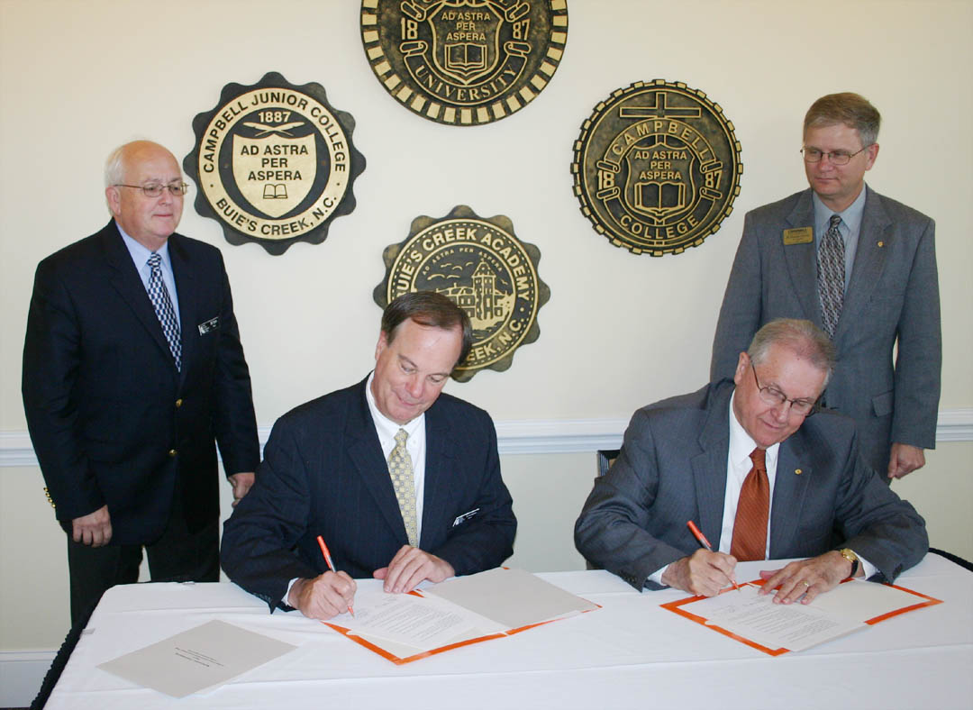 Click to enlarge Campbell University, CCCC sign agreement