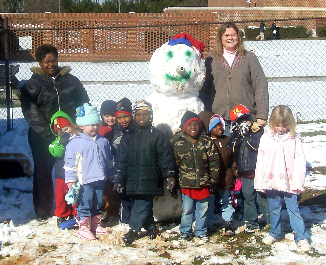 Click to enlarge Snowman enjoys Chatham Preschool