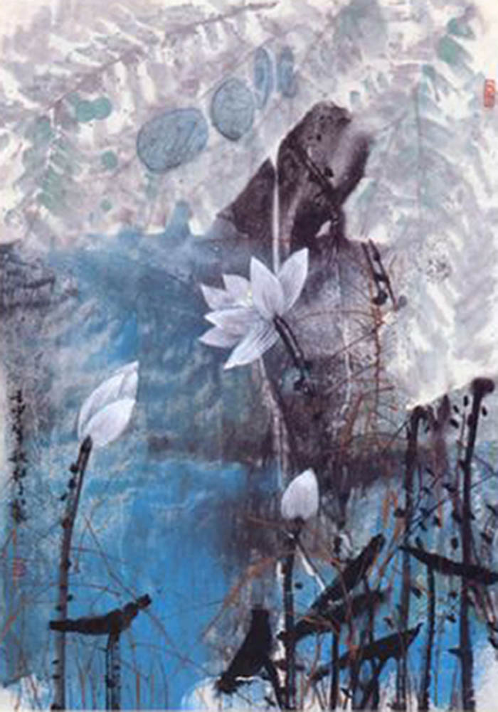 Click to enlarge,  Chinese traditional painting, flowers close up