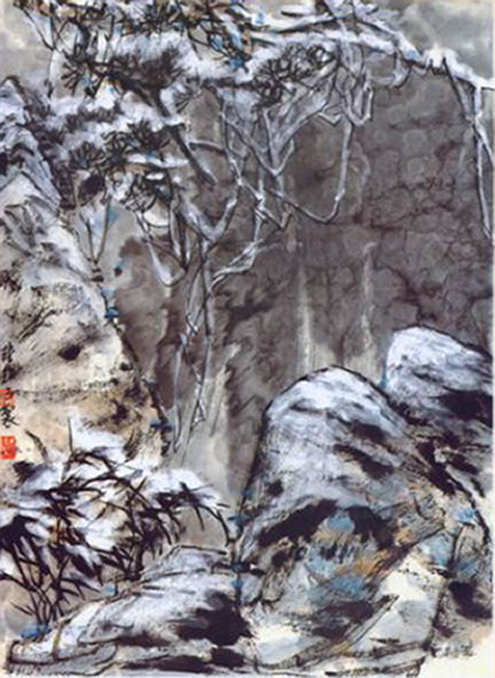 Click to enlarge,  Chinese traditional painting, Stones in the woods