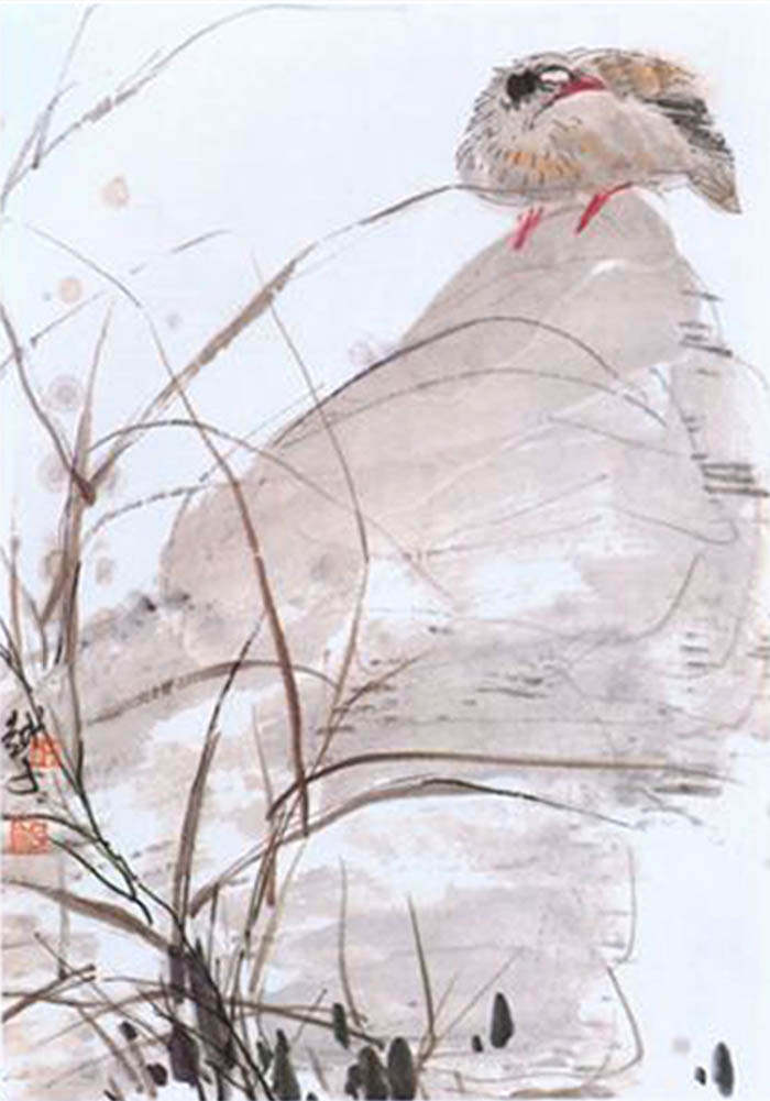 Click to enlarge,  Chinese traditional painting, bird in the snow