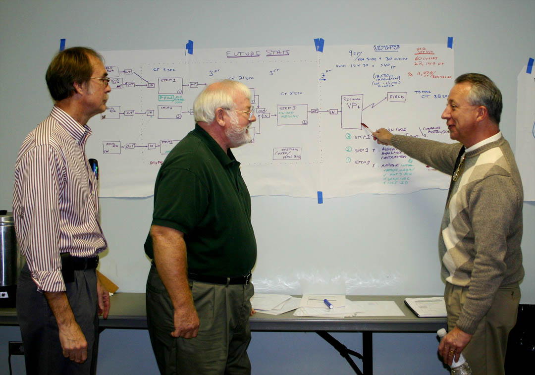 Click to enlarge,  Community College instructors from around North Carolina are learning to teach Lean Six Sigma principles for workplace productivity and efficiency to others at Train the Trainer seminars at Central Carolina Community College. Among them are (from left), Rick Smith, of Coastal Carolina Community College, Gary Baldwin, of Sandhills Community College, and T.J. Haney, of Craven Community College, who are reviewing a Value Stream Map, a process for approving contracts. LSS is a workplace and management analysis and improvement process. Those trained at CCCC will return to their colleges and train others to work with business and industry in becoming more productive and efficient. CCCC's Industry Services Office, N.C. State University College of Textiles, and the N.C. Community College System's Customized Training Program are collaborating on the Train the Trainer program.