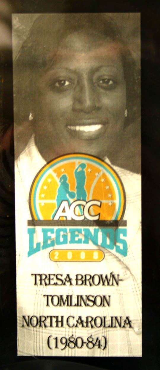 Click to enlarge,  In 2008, the Atlantic Coast Conference named Tresa Brown-Tomlinson a Women's Basketball Tournament Legend. That was one of many honors she has received over the years for her powerhouse playing at the University of North Carolina-Chapel Hill from 1980 to 1984. Brown-Tomlinson, now Assistant Superintendent for Programs at Harnett Correctional Institution, was the featured Black History Month speaker Feb. 23 at Central Carolina Community College's Harnett County Campus. She used her basketball experiences to encourage audience members to believe in themselves, have good attitudes and give back to their communities.