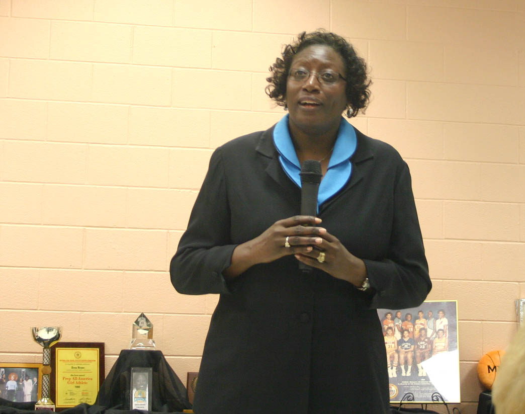 Click to enlarge,  Tresa Brown-Tomlinson, Assistant Superintendent for Programs at Harnett Correctional Institution and former University of North Carolina-Chapel Hill women's basketball powerhouse (1980-84), was the featured Black History Month speaker Feb. 23 at Central Carolina Community College's Harnett County Campus. She used her basketball experiences to encourage the audience members to believe in themselves, have good attitudes and give back to their communities. Among the many honors she has received are having UNC retire her jersey in 1995 and being named an Atlantic Coast Conference Women's Basketball Tournament Legend in 2008.