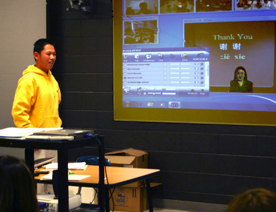 Click to enlarge CCCC instructor brings China to schools via BRAC videoconferencing