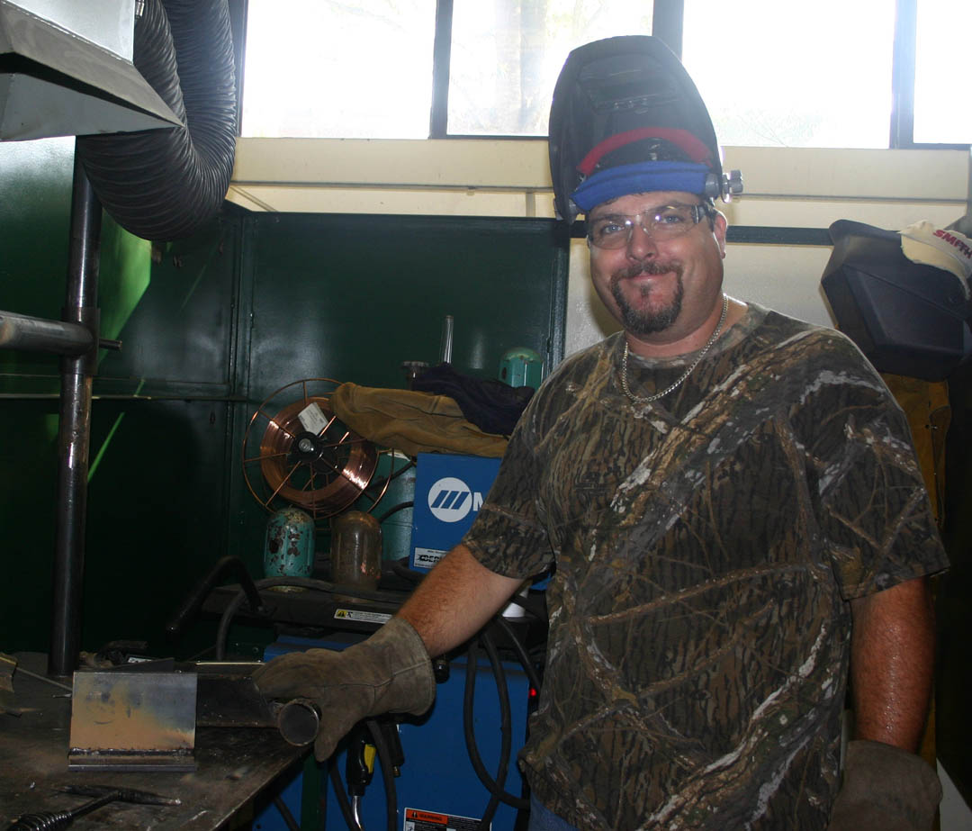 Click to enlarge,  Central Carolina Community College student Jason Morris recently completed several welding certifications in a Continuing Education JobsNOW class at the college's Harnett County Campus. With the skills and certifications he gained, he has now started his own welding business in Apex.