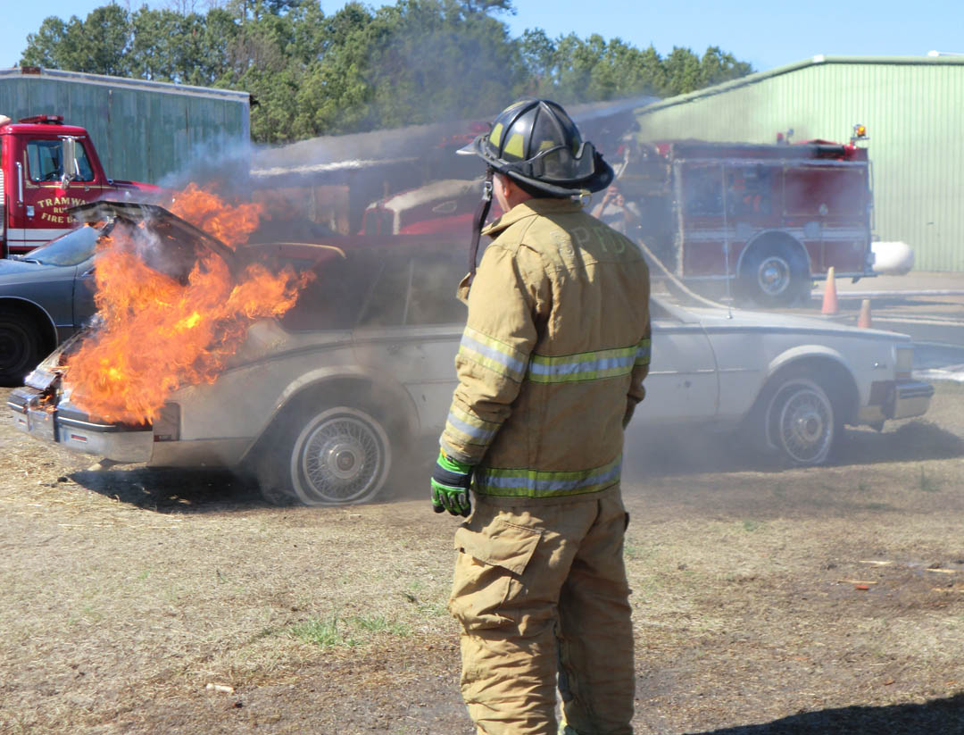 Autos burn for fire training at CCCC�s Emergency Services Training Center