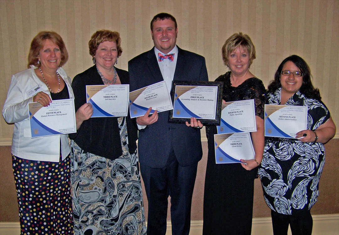 Click to enlarge,  Five Phi Beta Lambda business club students at Central Carolina Community College competed at the PBL State Leadership Conference April 7-10, in Charlotte, and each placed in at least one competition. Pictured (from left) are Nora Stallings, of Liberty, Fifth Place in HR Management; Cheryl Reynolds, of Cameron, Third Place in Job Interview; Nick Wicker, of Mamers, First Place in Accounting and Sixth Place in Business Law; Shirley Rijkse, of Broadway, Third Place in Client Service and Eighth place in Public Speaking; and Maria Nieto, of Mamers, Second Place in Justice Administration. Wicker and Nieto will advance to competitions at PBL's National Conference, to be held in Orlando.