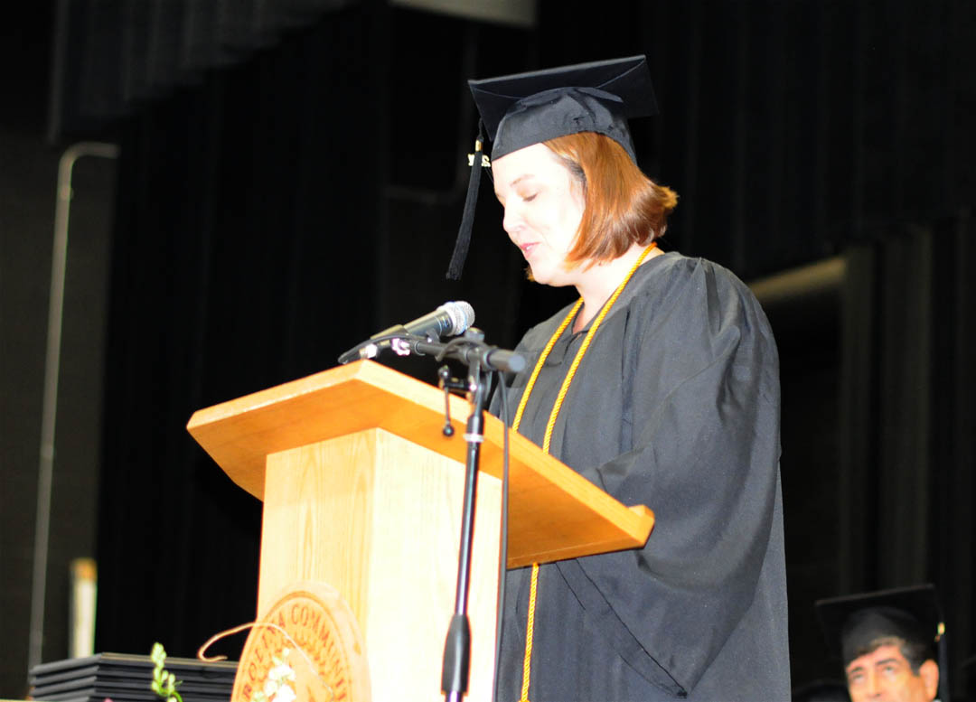 Click to enlarge,  Tonya Tenters, of Harnett County, addresses her graduating class during Central Carolina Community College's Summer Commencement exercises Thursday at the Dennis A. Wicker Civic Center. Tenters received an Associate of Applied Science in Veterinary Medical Technology. She was one of about 200 CCCC students who completed their studies during the summer semester.
