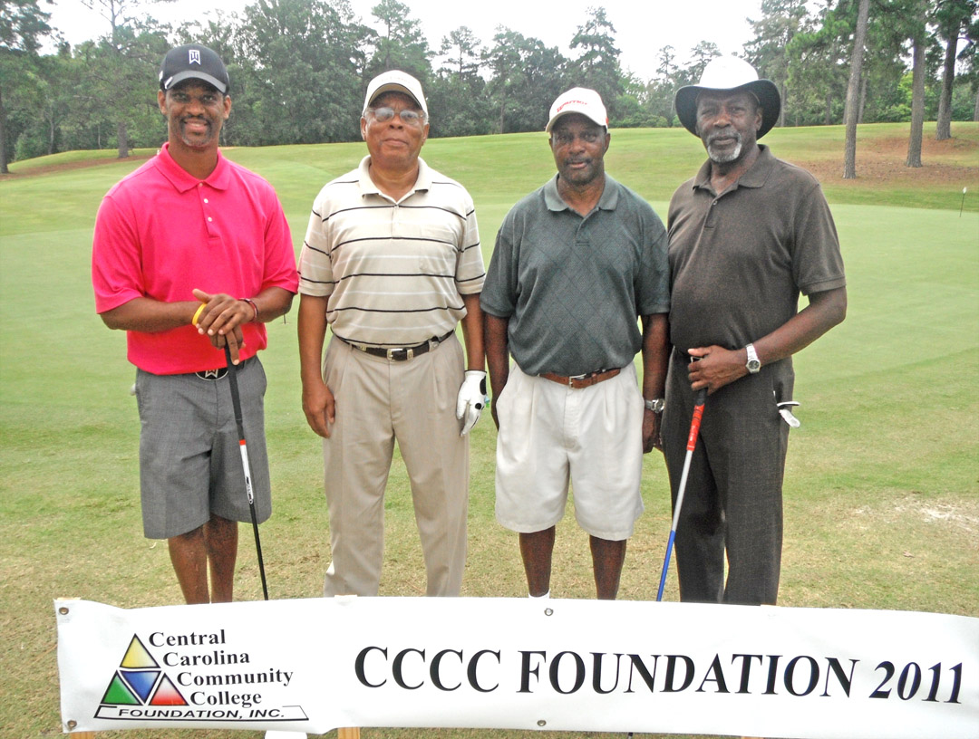Click to enlarge,  Central Carolina Community College Foundation's 22nd Annual Golf Classic Sept. 21 attracted 172 golfers and raised $40,000 for student scholarships and award programs that advance the college's mission. Teams participated in Captain's Choice tournaments in either the morning or afternoon competitions at the Sanford Golf Course. Members of the First Place team of the morning First Flight were (from left) Charles Mellette, Robert Reives, Linel Williams, and Joe McCoy, all of Sanford. The Wilson & Reives law firm sponsored the team. For information on the Foundation, contact Diane Glover at (919) 718-7231 or  dglover@cccc.edu .
