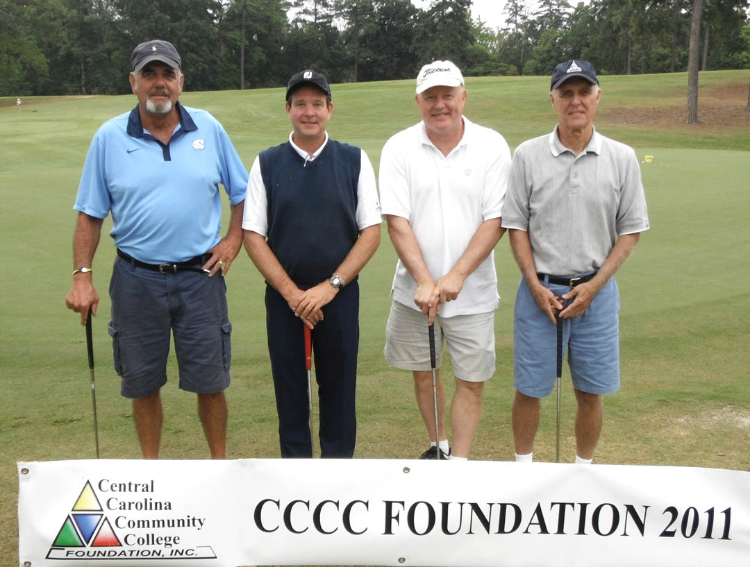 Click to enlarge,  Central Carolina Community College Foundation's 22nd Annual Golf Classic Sept. 21 attracted 172 golfers and raised $40,000 for student scholarships and award programs that advance the college's mission. Teams participated in Captain's Choice tournaments in either the morning or afternoon competitions at the Sanford Golf Course. Tying for First Place in the morning Third Flight was the team sponsored by The Holmes Oil Company, of Pittsboro: (not shown in order) John Arthurs, Harry Goodwin, Barber Holmes, and Ron Regan, all of Chatham County.