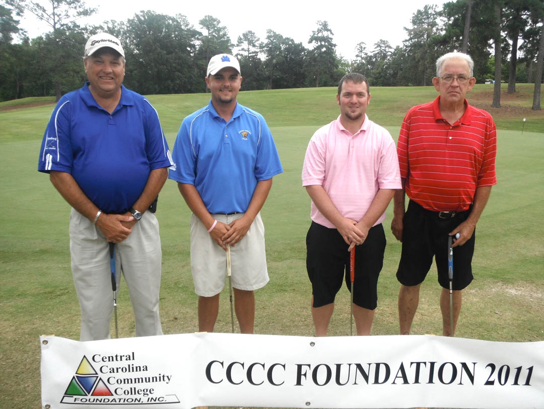 Click to enlarge,  Central Carolina Community College Foundation's 22nd Annual Golf Classic Sept. 21 attracted 172 golfers and raised $40,000 for student scholarships and award programs that advance the college's mission. Teams participated in Captain's Choice tournaments in either the morning or afternoon competitions at the Sanford Golf Course. Members of the afternoon First Flight First Place team were (from left) Keith Thomas, Jack Radley, Brandon Honeycutt, and Bobby Lundy, all of Sanford. The team was sponsored by Progress Energy of Aberdeen. For information on the Foundation, contact Diane Glover at (919) 718-7231 or  dglover@cccc.edu .