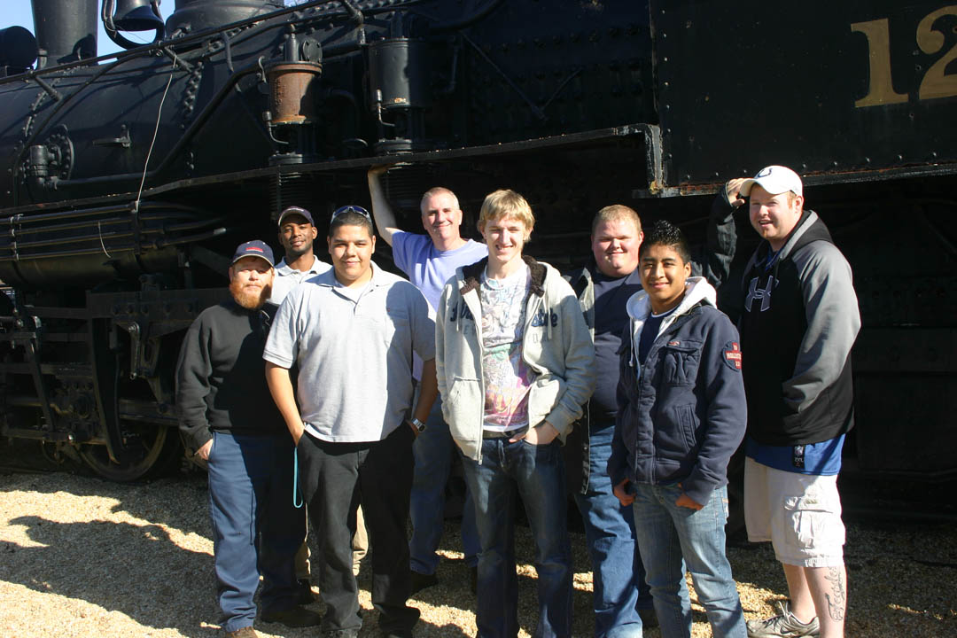 CCCC welding students work on Depot Park train