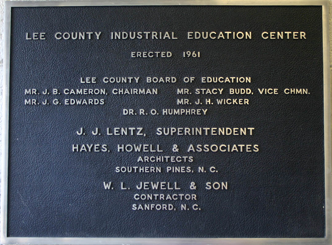 Click to enlarge,  The first building of the Lee County Industrial Education Center was erected in 1961 and opened for classes in 1962. The dedicatory plaque still hangs in the building, now called Douglas H. Wilkinson Sr. Hall in  honor of an early trustee.