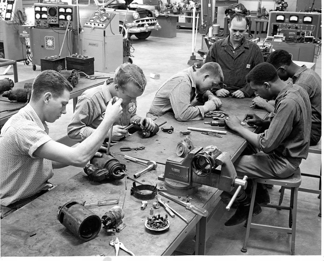 Click to enlarge,  Automotive engine repair was one of the first programs taught at the Lee County Industrial Education Center. The program continues today at Central Carolina Community College, with students now trained on computers as well as hands-on under the hood.