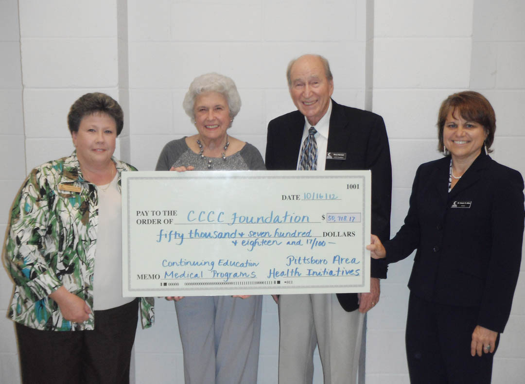 CCCC receives Pittsboro Area Health Initiatives gift