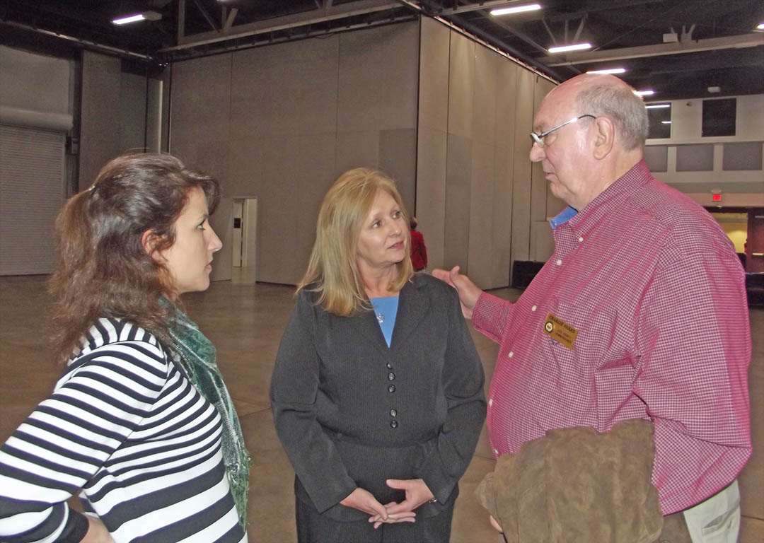 Click to enlarge,  Meg Moss (left), executive director of Lee County Industries, and Sheryl Smith, of the N.C. Division of Work Force Solutions, speak with Charlie Parks, chair of the Lee County Board of Commissioners, following the Feb. 28 Central Carolina Community College information conference for Lee County business and civic leaders at the Dennis A. Wicker Civic Center. Members of the college's Human Resources Development and N.C. Career Readiness Certificate programs spoke with community representatives about how to better serve Lee County job seekers and businesses through a mutually beneficial partnership. For information on the HRD program at Central Carolina, contact Patricia Stone-Hackett at (919) 777-7716 or pstone-hackett@cccc.edu. For information on the CRC program, contact Crystal McIver at 919-777-7798 or cmciver@cccc.edu.