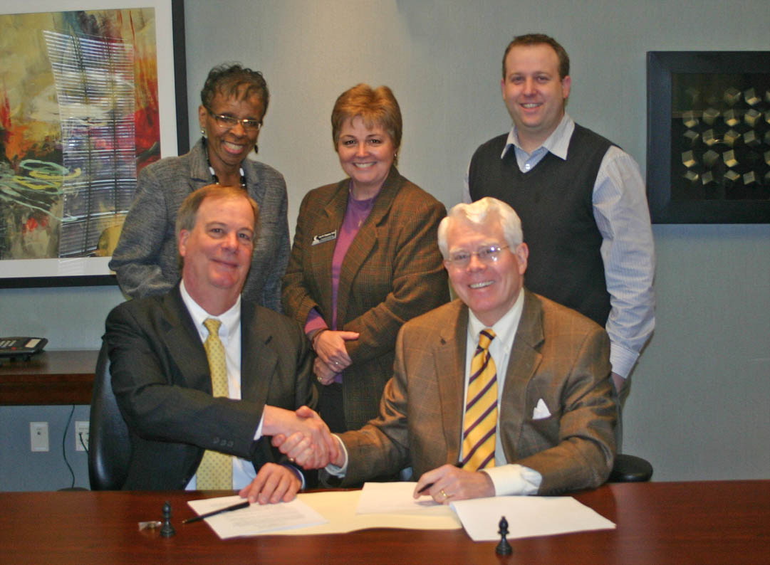 Click to enlarge,  The agreement, signed by CCCC President Dr. Bud Marchant (front left) and N.C. Wesleyan President James Gray III, covers Associate in Arts and Associate in Science degree graduates, as well as graduates in several Associate in Applied Science degree programs. Also attending the signing were (back, from left) Saundra Carmichael, director of NCWC's Triangle ASPIRE program; Dr. Lisa Chapman, CCCC executive vice president for Instruction; and Dr. Evan Duff, NCWC interim provost and vice president of Adult and Professional Studies. For more information about CCCC programs, go to www.cccc.edu. For more information about N.C. Wesleyan, visit www.ncwc.edu.