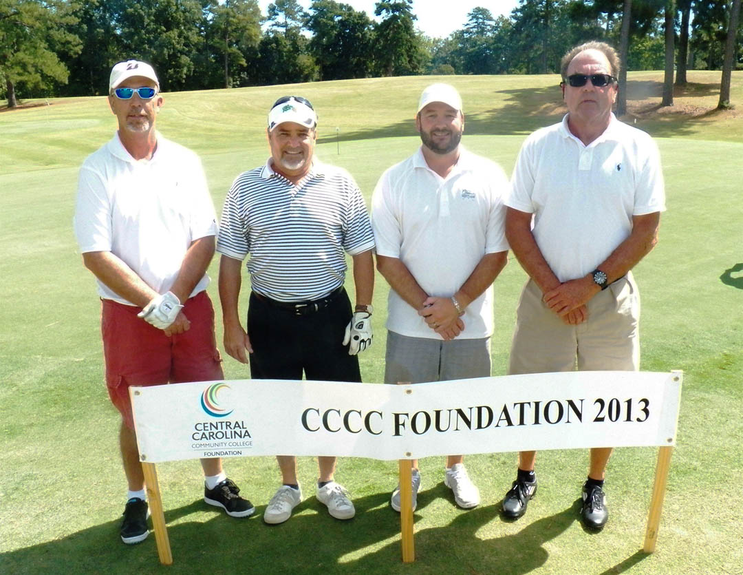 Click to enlarge,  The Central Carolina Community College Foundation hosts its first Harnett County Golf Classic on March 20 at Chicora Golf Club, in Dunn. Golfers are invited to participate in this afternoon of fun and fellowship for a good cause, with proceeds primarily benefiting CCCC students. In 2013, the Foundation held only one Golf Classic, in Lee County, which raised more than $37,000 for student scholarships and other needs in the college's three-county service area of Chatham, Harnett and Lee. The Harnett County foursome of (from left) Kevin McDougald, Robbie Campbell, Chan Campbell, and Rex Brown, were among the teams participating in 2013. The Foundation is a 501(c)(3) charitable organization affiliated with, but independent of, the college. It receives donations of money and equipment on behalf of CCCC and uses them to promote the educational mission of the college and assist students through scholarships and grants. For information on giving to the Foundation or its fund-raising events, contact Emily Hare, director of the CCCC Foundation and Development Office, 919-718-7230 or ehare@cccc.edu.