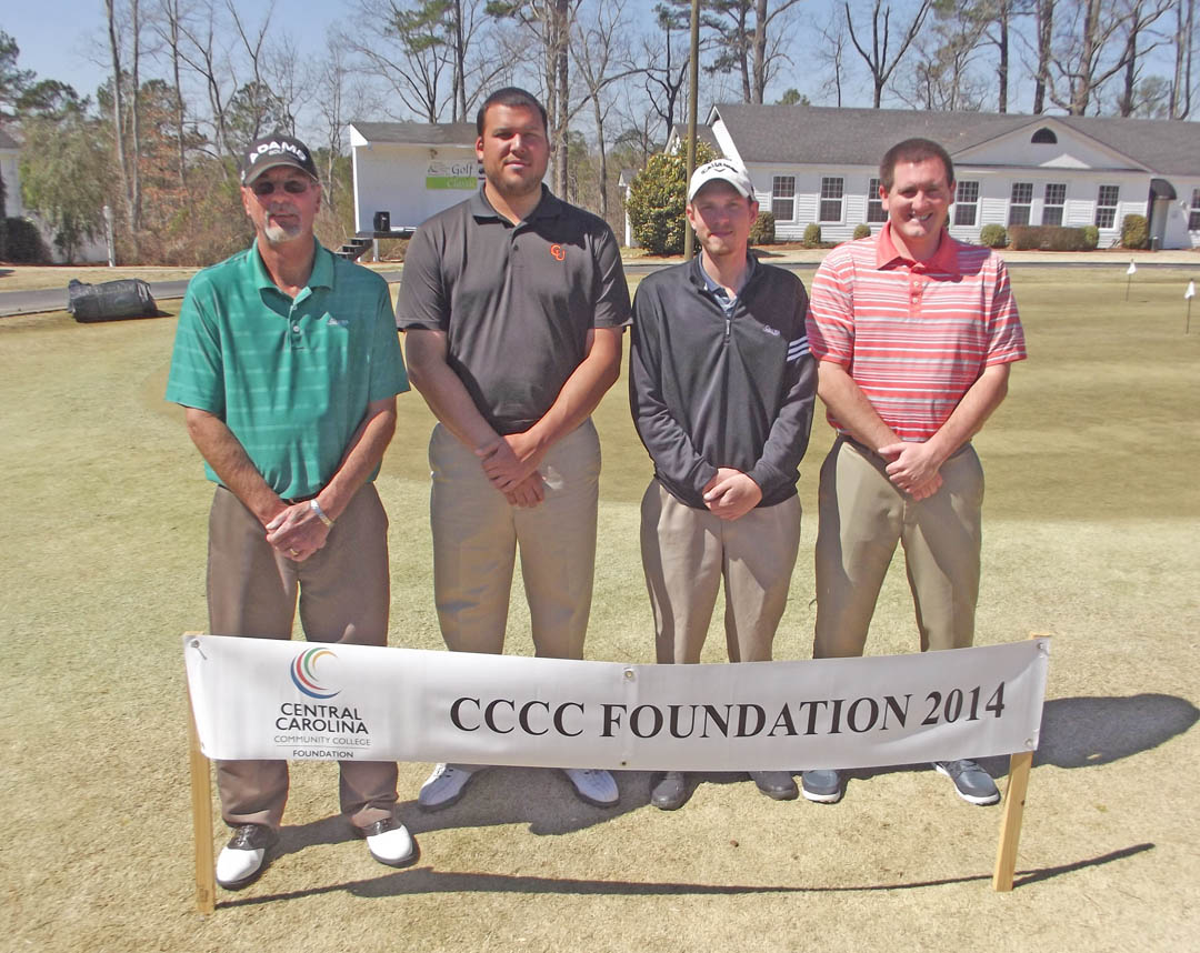 Click to enlarge,  Opportunity was the big winner as golfers wrapped up the first Central Carolina Community College Foundation Harnett Golf Classic March 20 at Chicora Golf Club. A total of 75 golfers combined fun with fundraising to assist CCCC students who need financial help to afford college. Approximately $10,000 was raised.  The proceeds from the event will be used primarily for student scholarships. The First Flight First Place winning team, with a score of 54, was Kevin Blasingim, Paul Howell, Josh Tuggle, and Derek Easter, sponsored by Hayes, Williams, Turner and Daughtry, Attorneys at Law. For information about the Foundation, donating to it, establishing a scholarship, or its fund-raising events, contact Emily Hare, director of the CCCC Foundation and Development Office, 919-718-7230, or ehare@cccc.edu; or Jonathan Hockaday, 919-718-7231 or jhockaday@cccc.edu.