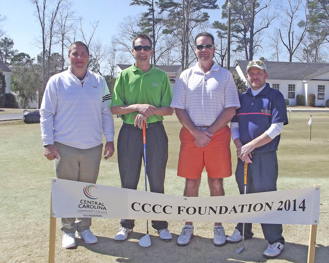 Click to enlarge,  Opportunity was the big winner as golfers wrapped up the first Central Carolina Community College Foundation Harnett County Golf Classic March 20 at Chicora Golf Club. A total of 75 golfers combined fun with fundraising to assist CCCC students who need financial help to afford college. Approximately $10,000 was raised. The proceeds will be used primarily for scholarships. The First Flight Second Place winning team, with a score of 54, was James Harris, Larry Daughtry, Kenny Stewart and Bo Crooks, sponsored by Four Oaks Bank. For information about the Foundation, donating to it, establishing a scholarship, or its fund-raising events, contact Emily Hare, director of the CCCC Foundation and Development Office, 919-718-7230, or ehare@cccc.edu; or Jonathan Hockaday, 919-718-7231 or jhockaday@cccc.edu.