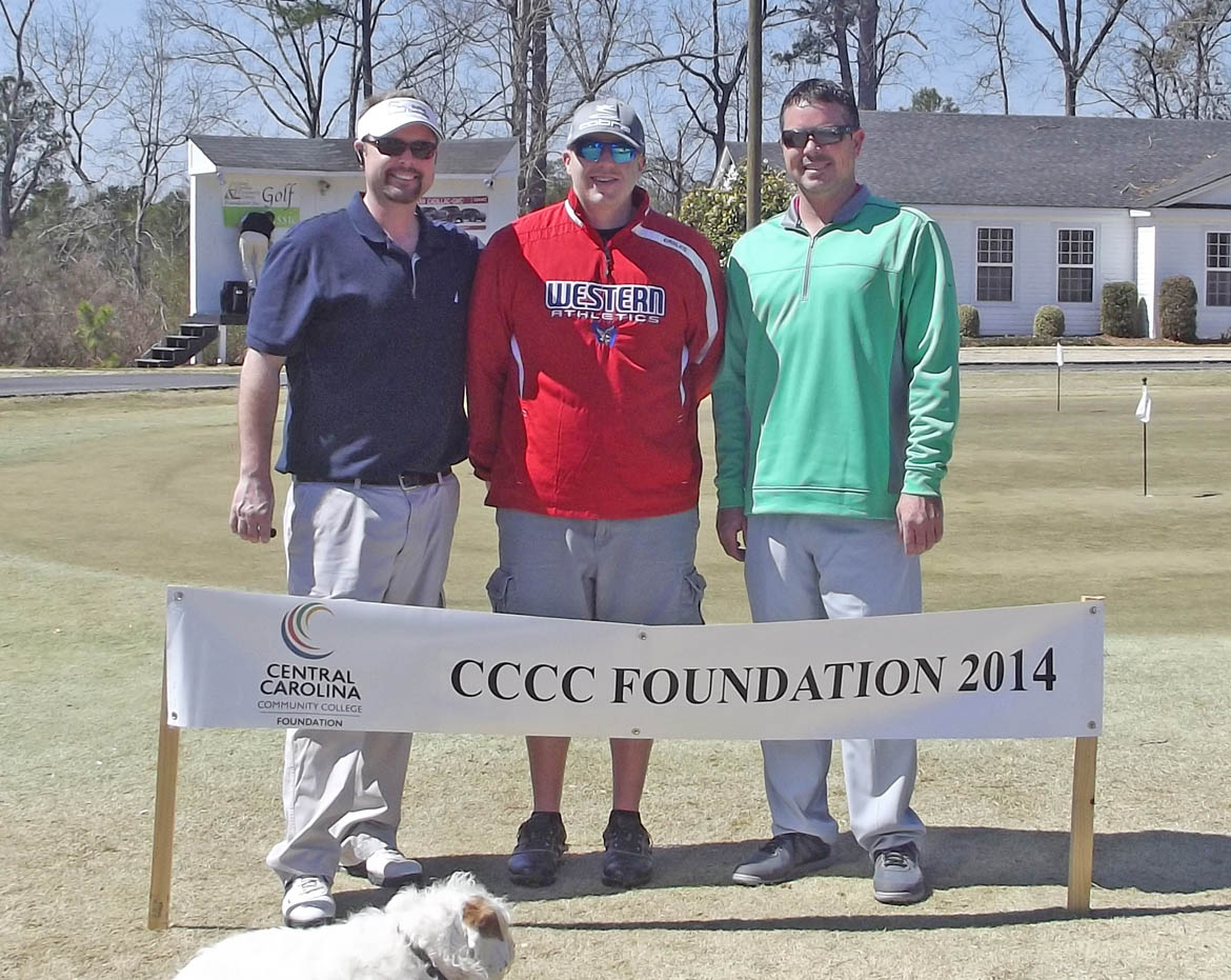 Click to enlarge,  Opportunity was the big winner as golfers wrapped up the first Central Carolina Community College Foundation Harnett County Golf Classic March 20 at Chicora Golf Club. A total of 75 golfers combined fun with fundraising to assist CCCC students who need financial help to afford college. Approximately $10,000 was raised. The proceeds will be used primarily for scholarships. The First Flight Third Place winning team, with a score of 56, was Matt Smith, Robbie Bradford and Travis Bradford, sponsored by Tim McNeill. For information about the Foundation, donating to it, establishing a scholarship, or its fund-raising events, contact Emily Hare, director of the CCCC Foundation and Development Office, 919-718-7230, or ehare@cccc.edu; or Jonathan Hockaday, 919-718-7231 or jhockaday@cccc.edu.