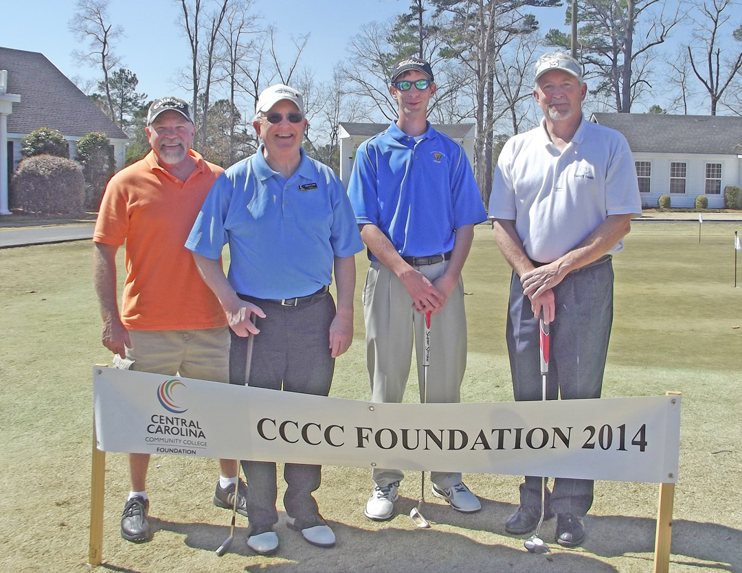 Click to enlarge,  Opportunity was the big winner as golfers wrapped up the first Central Carolina Community College Foundation Harnett County Golf Classic March 20 at Chicora Golf Club. A total of 75 golfers combined fun with fundraising to assist CCCC students who need financial help to afford college. Approximately $10,000 was raised. The proceeds will be used primarily for scholarships. The Second Flight First Place winning team, with a score of 63, was Len Royals, Bill Tyson, Jonathan Hockaday and Mike Jones, sponsored by First Federal. For information about the Foundation, donating to it, establishing a scholarship, or its fund-raising events, contact Emily Hare, director of the CCCC Foundation and Development Office, 919-718-7230, or ehare@cccc.edu; or Jonathan Hockaday, 919-718-7231 or jhockaday@cccc.edu.
