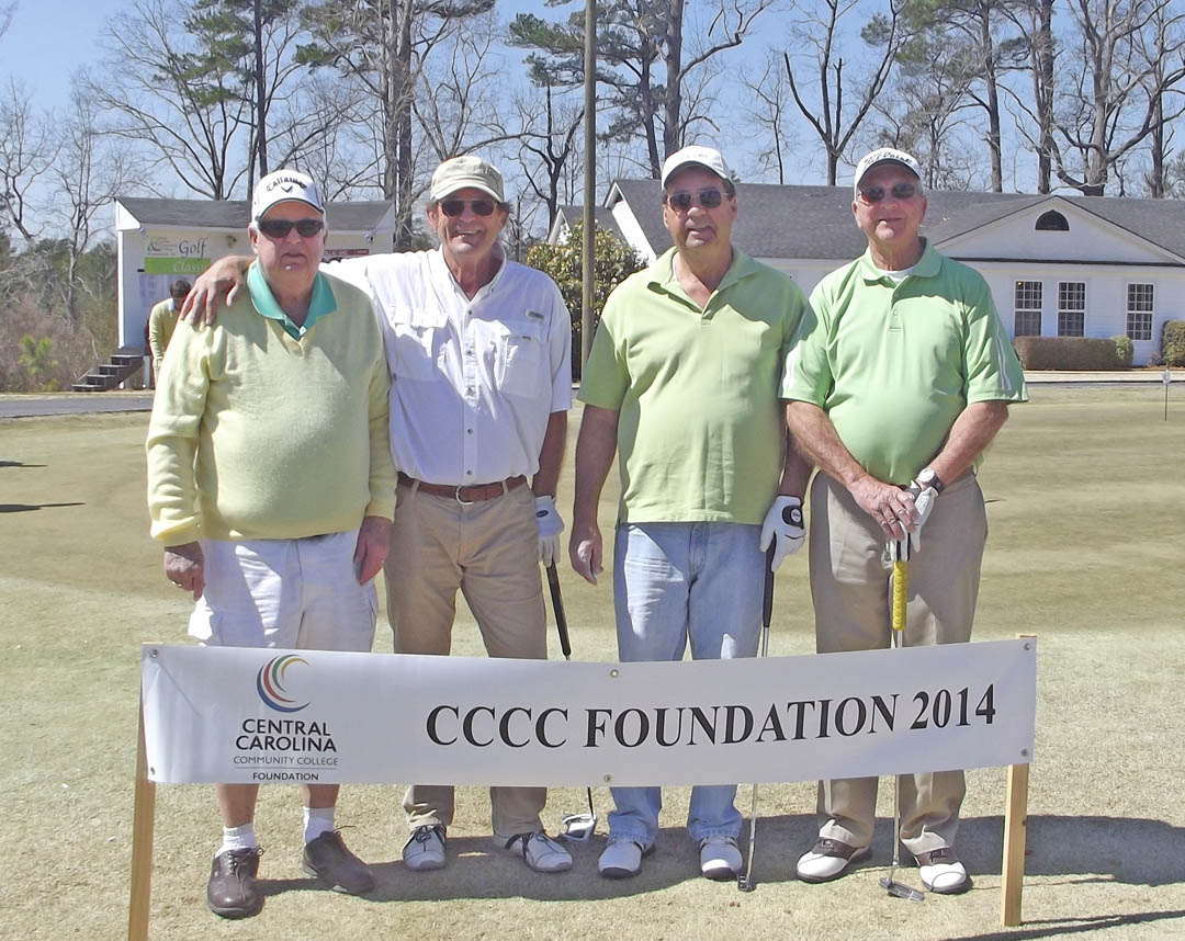 Click to enlarge,  Opportunity was the big winner as golfers wrapped up the first Central Carolina Community College Foundation Harnett County Golf Classic March 20 at Chicora Golf Club. A total of 75 golfers combined fun with fundraising to assist CCCC students who need financial help to afford college. Approximately $10,000 was raised. The proceeds will be used primarily for scholarships. The Second Flight, Third Place winning team, with a score of 64, was Jimmy Coleman, Ray Hodges, Danny Roberts and Bobby Womble, sponsored by Womble Realty. For information about the Foundation, donating to it, establishing a scholarship, or its fund-raising events, contact Emily Hare, director of the CCCC Foundation and Development Office, 919-718-7230, or ehare@cccc.edu; or Jonathan Hockaday, 919-718-7231 or jhockaday@cccc.edu.