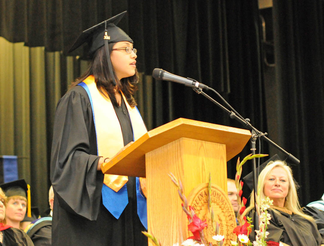 Click to enlarge,  Guadalupe Norato, of Lee County, delivers one of the commencement addresses at Central Carolina Community College's May 22 spring graduation at the Dennis A. Wicker Civic Center. Norato received her Associate in Applied Science in Business Administration. The college awarded 315 degrees and 421 diplomas and certificates, with some students receiving multiple credentials. Pictures from the commencement exercises can be downloaded in a few days from www.cccc.edu. The commencement can also be viewed online at 4CNCLive.com. For information on what CCCC offers, visit www.cccc.edu/.
