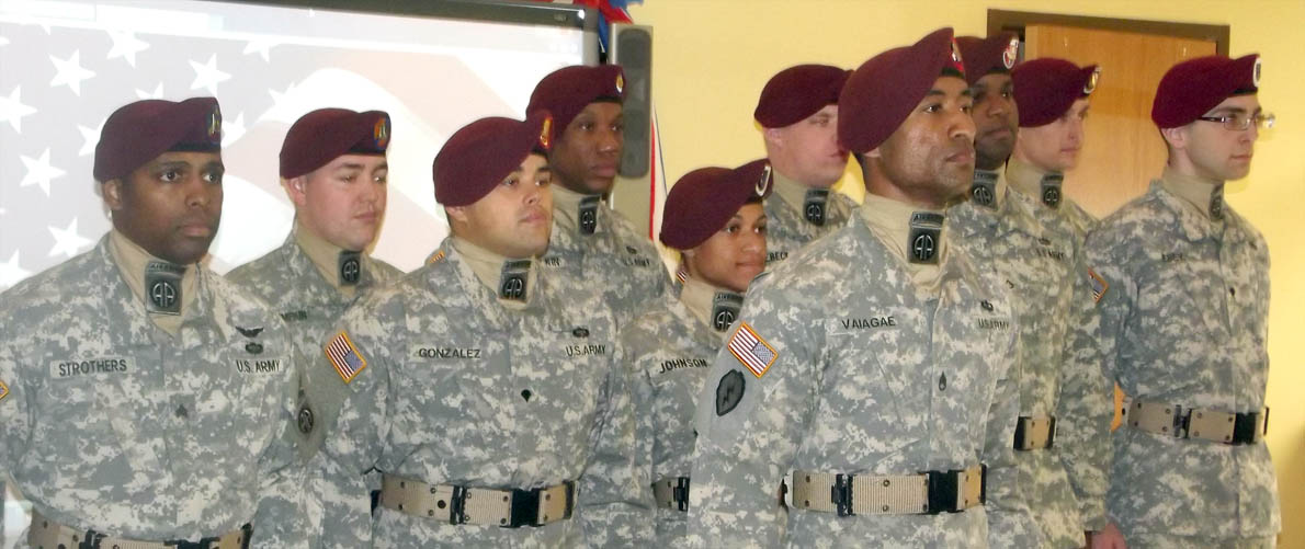 "Click to enlarge,  The 82nd Airborne Division's All-American Chorus provided special music for the Veterans Day program, ""Celebrating American Heroes,"" on Nov. 5 at Central Carolina Community College's Siler City Center."