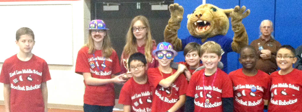 Click to enlarge,  The East Lee Middle School robotics team won trophies for Best Performance Overall and Robot Design at the middle school robotics competition held Nov. 15 at Central Carolina Community College.