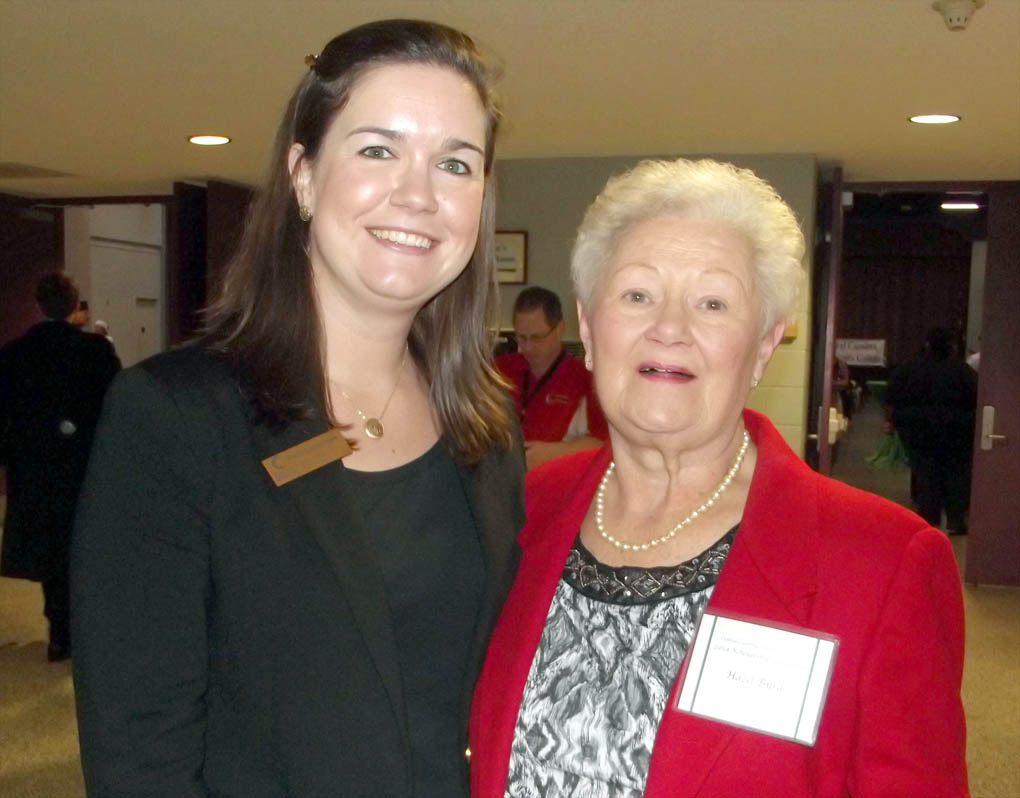 Click to enlarge,  Hazel Byrd (right), of Lillington, visits with CCCC Foundation Executive Director Emily Hare at the college's 2014 Scholarship Luncheon, held Nov. 19 at the Dennis A. Wicker Civic Center in Sanford.