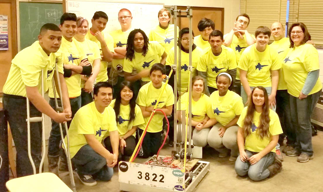 Click to enlarge,  The FIRST Robotics Competition Team 3822 from Jordan-Matthews High School has received several grants.