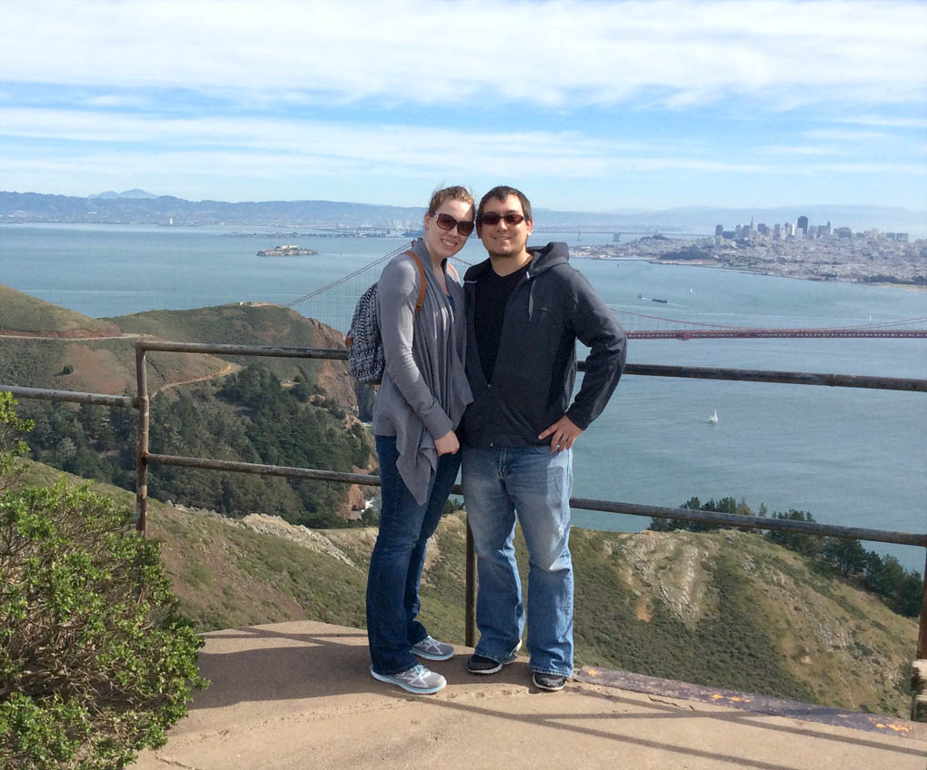 Click to enlarge,  Al DeLong and his wife Megan are pictured overlooking San Francisco Bay after their move to California. DeLong, a student in Central Carolina Community College's Laser and Photonics Technology program, has now gotten a job at the prestigious Lawrence Livermore National Labs.