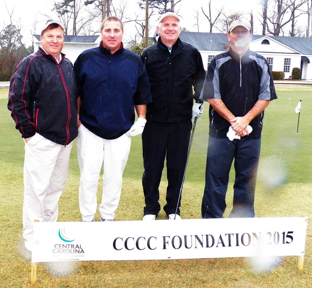 Click to enlarge,  Members of the first flight winning team in the second Central Carolina Community College Foundation Harnett Golf Classic were Larry Daughtry, Gary Robinson, Johnny Peregoy, and Kary Pennington. For information about the Foundation, donating to it, establishing a scholarship, or other fund-raising events, contact Emily Hare, executive director of the CCCC Foundation, 919-718-7230, or ehare@cccc.edu; or Jonathan Hockaday, 919-718-7231 or jhockaday@cccc.edu. Information is also available at its website, www.cccc.edu/foundation.