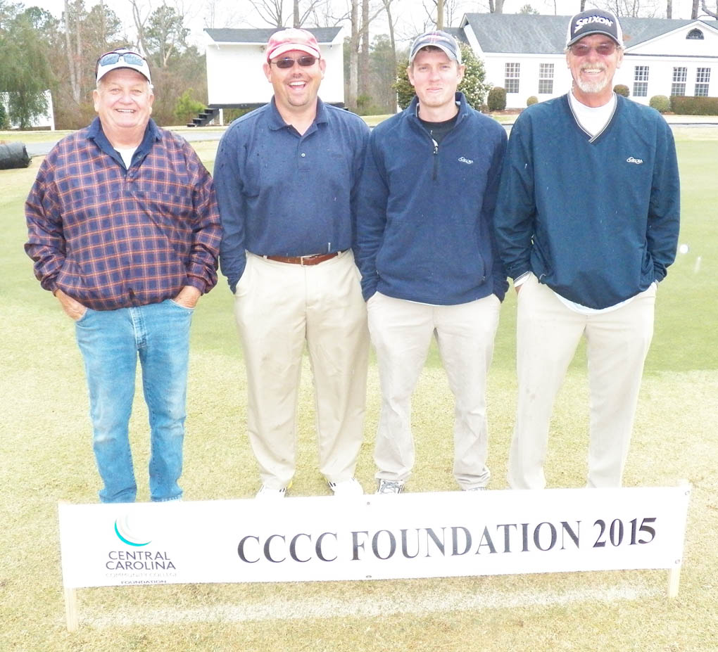 Click to enlarge,  Members of the second flight winning team in the second Central Carolina Community College Foundation Harnett Golf Classic were Kevin Blasingim, Josh Tuggle, Elmon Williams, and Danny Graham. For information about the Foundation, donating to it, establishing a scholarship, or other fund-raising events, contact Emily Hare, executive director of the CCCC Foundation, 919-718-7230, or ehare@cccc.edu; or Jonathan Hockaday, 919-718-7231 or jhockaday@cccc.edu. Information is also available at its website, www.cccc.edu/foundation.