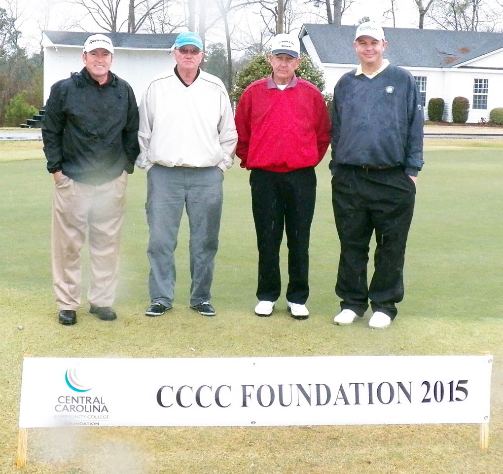 Click to enlarge,  Members of the third flight winning team in the second Central Carolina Community College Foundation Harnett Golf Classic were Brad Wilson, Darren Brown, Gene Wright, and Lemar McNeil. For information about the Foundation, donating to it, establishing a scholarship, or other fund-raising events, contact Emily Hare, executive director of the CCCC Foundation, 919-718-7230, or ehare@cccc.edu; or Jonathan Hockaday, 919-718-7231 or jhockaday@cccc.edu. Information is also available at its website, www.cccc.edu/foundation.