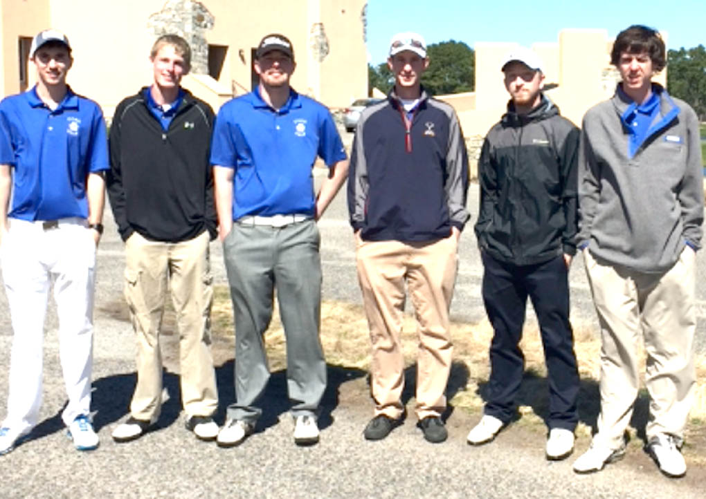 Click to enlarge,  Members of the Central Carolina Community College golf team are pictured, left to right: Cris Crissman, Erik McPherson, Brandon O'Quinn, Coach Jonathan Hockaday, Jordan Thomas, and Derek Cannady.