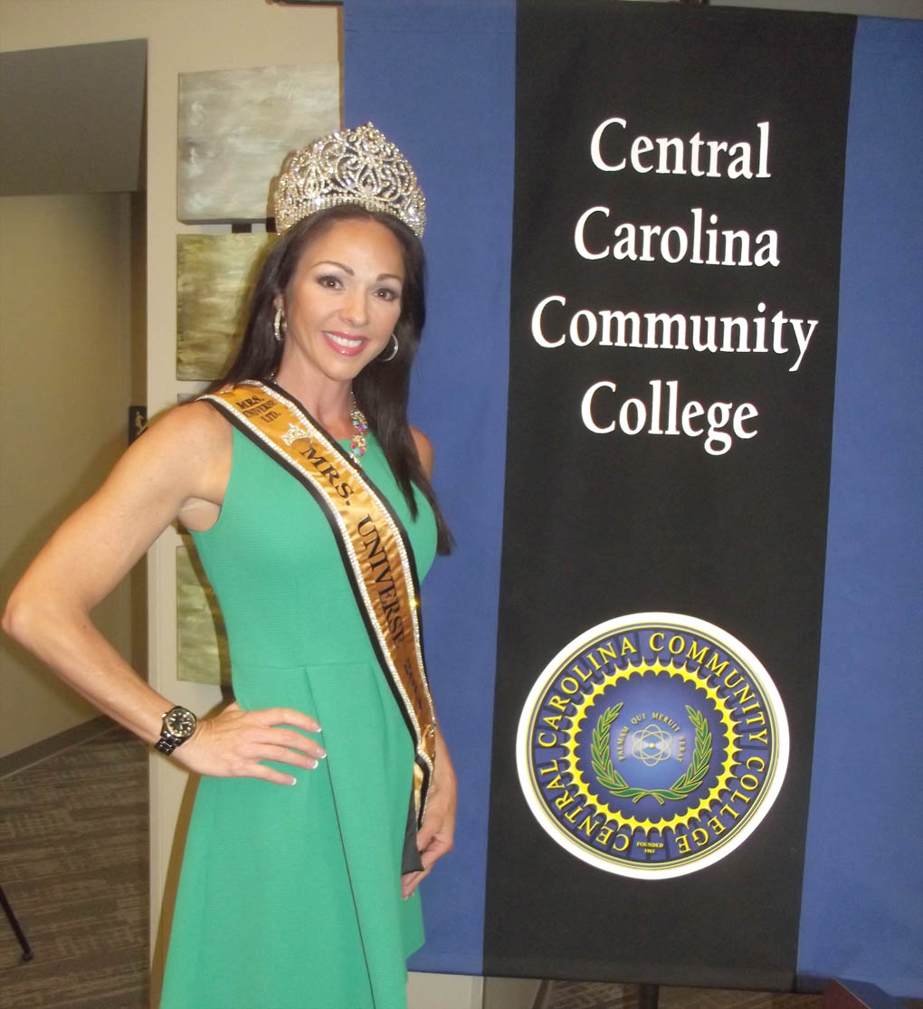 Click to enlarge,  Sabrina Pinion - Mrs. Universe 2014 - visited Central Carolina Community College where she spoke out against domestic violence.