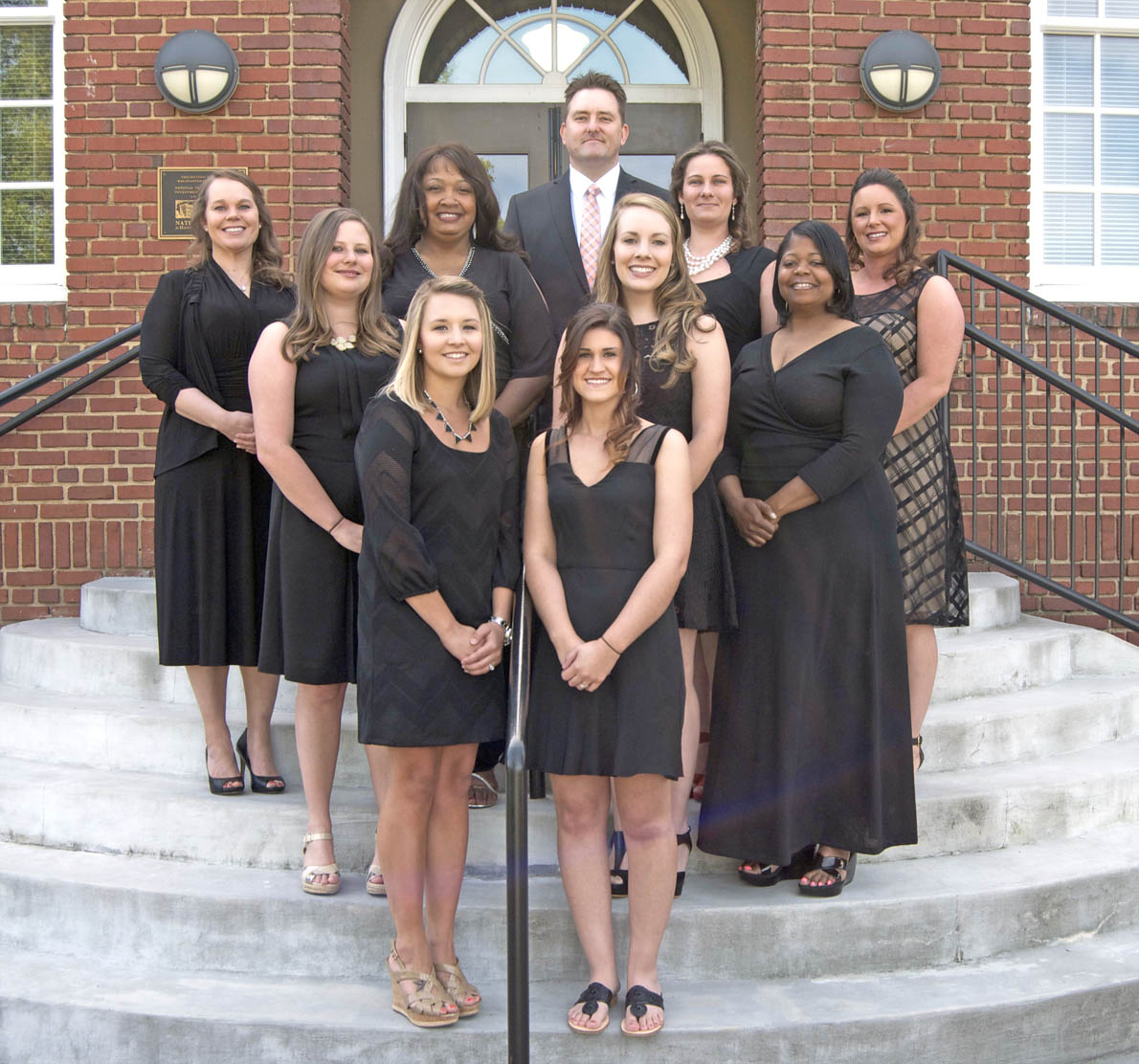 Click to enlarge,  Members of the Central Carolina Community College Dental Hygiene Class of 2015 are pictured, left to right: first row, Brittanie Doornbos and Amber Loveless; second row, Aleesha Gardner, Ashley Parker, and Cheryl King; third row, Stephanie Damery, Evelyn Smith-Sutton, Kimberly Rains, and Tiffany Streeter; fourth row, Scott Duff. Not pictured is Lisa Buxton. For more information on the Central Carolina Community College Dental Hygiene program, contact Lora Jackson, CCCC Dental Programs Admissions Counselor, at 919-718-7234 or email ljackson@cccc.edu.