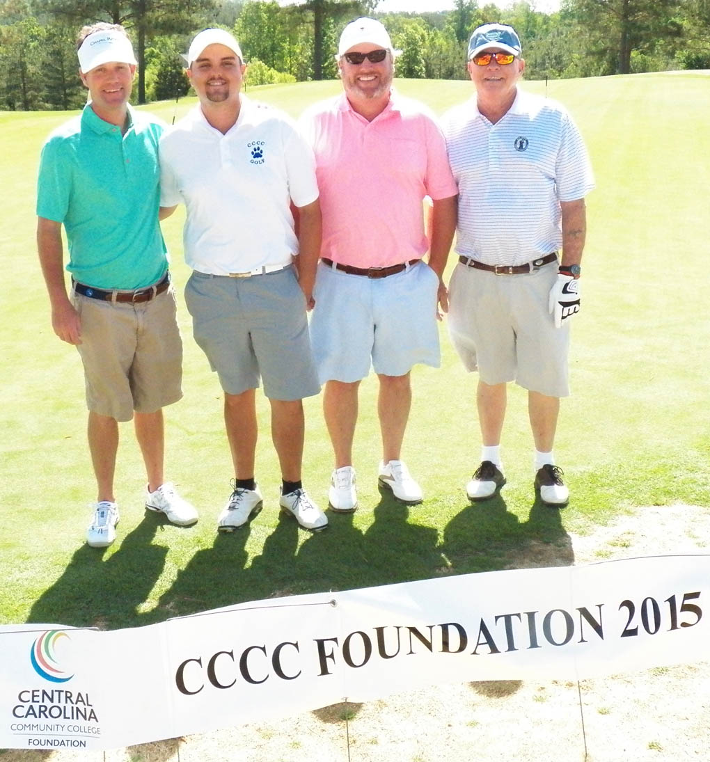 Click to enlarge,  Members of the first flight winning team in the second Central Carolina Community College Foundation Chatham Golf Classic were David Wicker, Jack Radley, Andy Phillips, and Bobby Powell. For information about the Foundation, donating to it, establishing a scholarship, or other fund-raising events, contact Emily Hare, executive director of the CCCC Foundation, 919-718-7230, or ehare@cccc.edu; or Jonathan Hockaday, 919-718-7231 or jhockaday@cccc.edu. Information is also available at its website, www.cccc.edu/foundation.