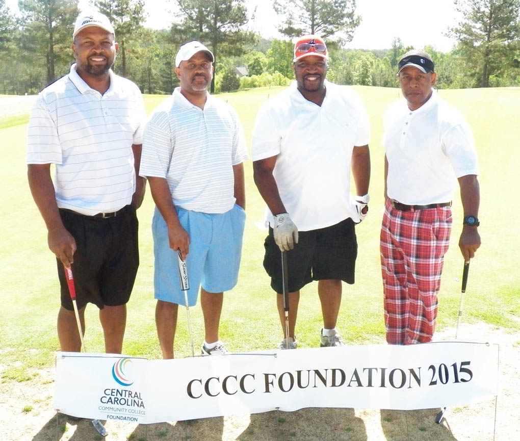 Click to enlarge,  Members of the second flight winning team in the second Central Carolina Community College Foundation Chatham Golf Classic were Delaine McNeil, Dana Elliot, Kent Jones, and Darnell Gray. For information about the Foundation, donating to it, establishing a scholarship, or other fund-raising events, contact Emily Hare, executive director of the CCCC Foundation, 919-718-7230, or ehare@cccc.edu; or Jonathan Hockaday, 919-718-7231 or jhockaday@cccc.edu. Information is also available at its website, www.cccc.edu/foundation.