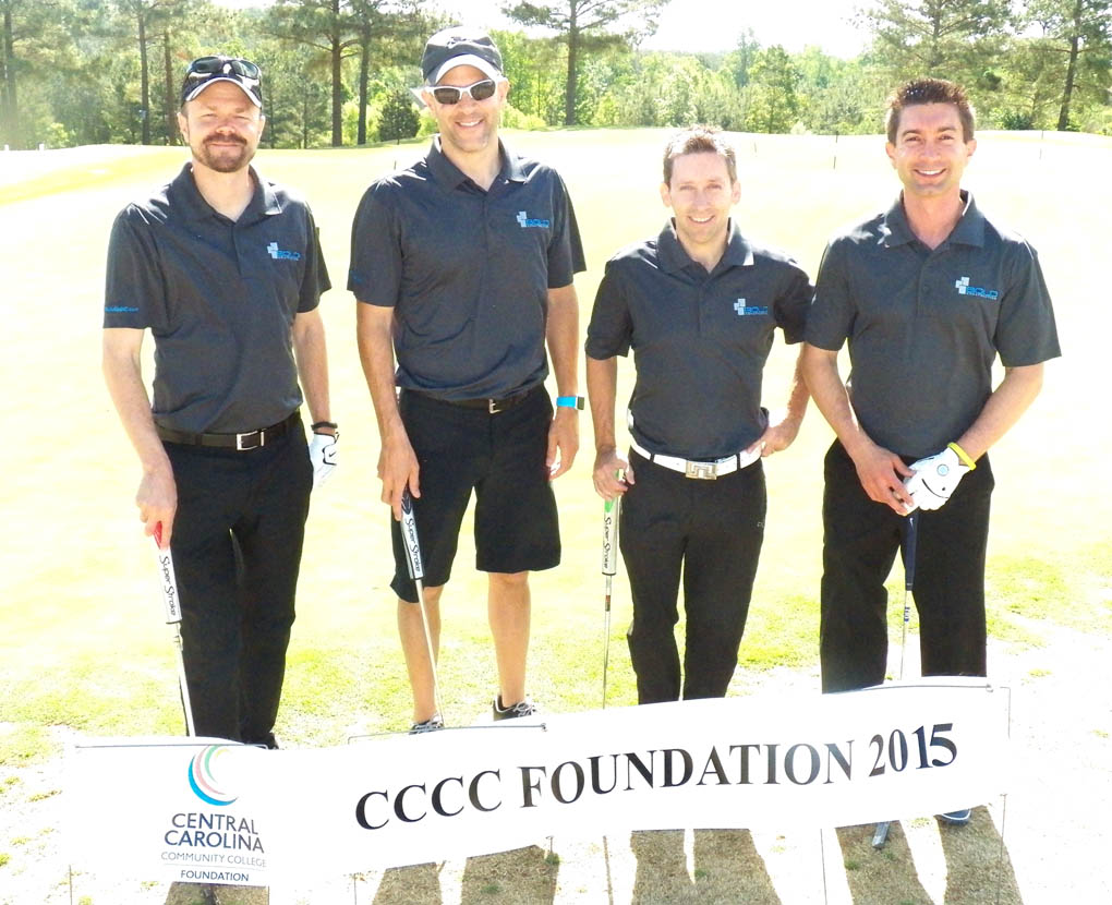 Click to enlarge,  Members of the third flight winning team in the second Central Carolina Community College Foundation Chatham Golf Classic were Jason Dell, Chris Ehrenfeld, John Todd, and Lewis Hendricks. For information about the Foundation, donating to it, establishing a scholarship, or other fund-raising events, contact Emily Hare, executive director of the CCCC Foundation, 919-718-7230, or ehare@cccc.edu; or Jonathan Hockaday, 919-718-7231 or jhockaday@cccc.edu. Information is also available at its website, www.cccc.edu/foundation.