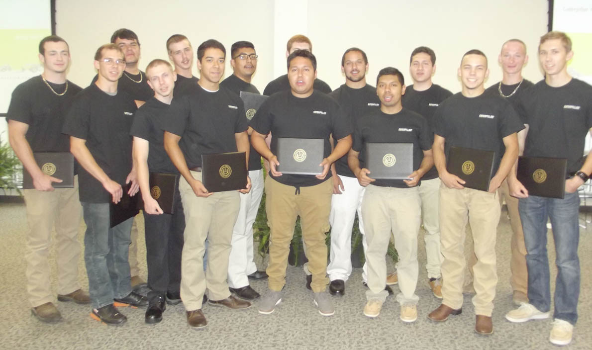 Click to enlarge,  The newest graduates of the Caterpillar Youth Apprentice Program include Christopher Baker, Cody Baker, Gage Chambley, Tristian Dennis, Brandon Donathan, Jonathan Godfrey, Noel Martinez, Joseph Matthews, Jesse Moore, Adan Renteria-Lascano, Duncan Riddle IV, William Semar Jr., Sir William Shoop, Fernando Terrones, Ellizon Torres, and Ivan Vilchis.