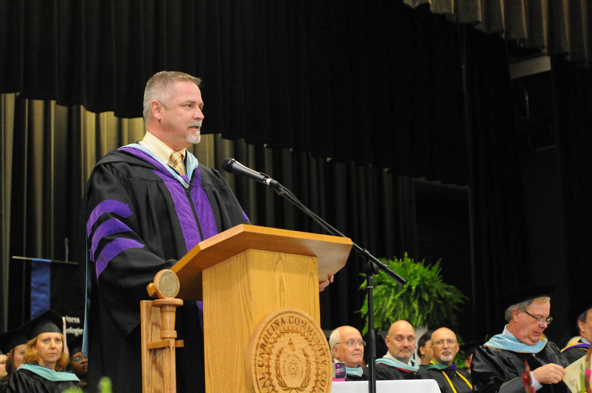 Click to enlarge,  Dr. Robert Powell, Central Carolina Community College's 2014 Instructor of the Year, presented the Commencement Address on May 22 at the Dennis A. Wicker Civic Center in Sanford.