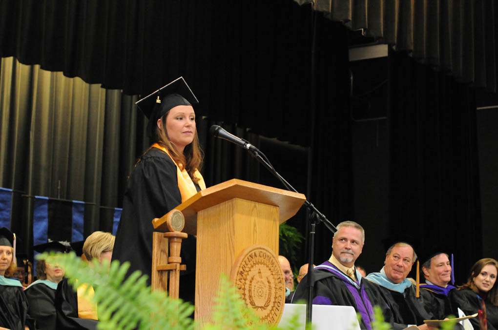 Click to enlarge,  Tiffany Leann Streeter, who received the Associate of Applied Science in Dental Hygiene, was the student speaker at the Central Carolina Community College 9 a.m. commencement exercises held on May 22 at the Dennis A. Wicker Civic Center in Sanford.