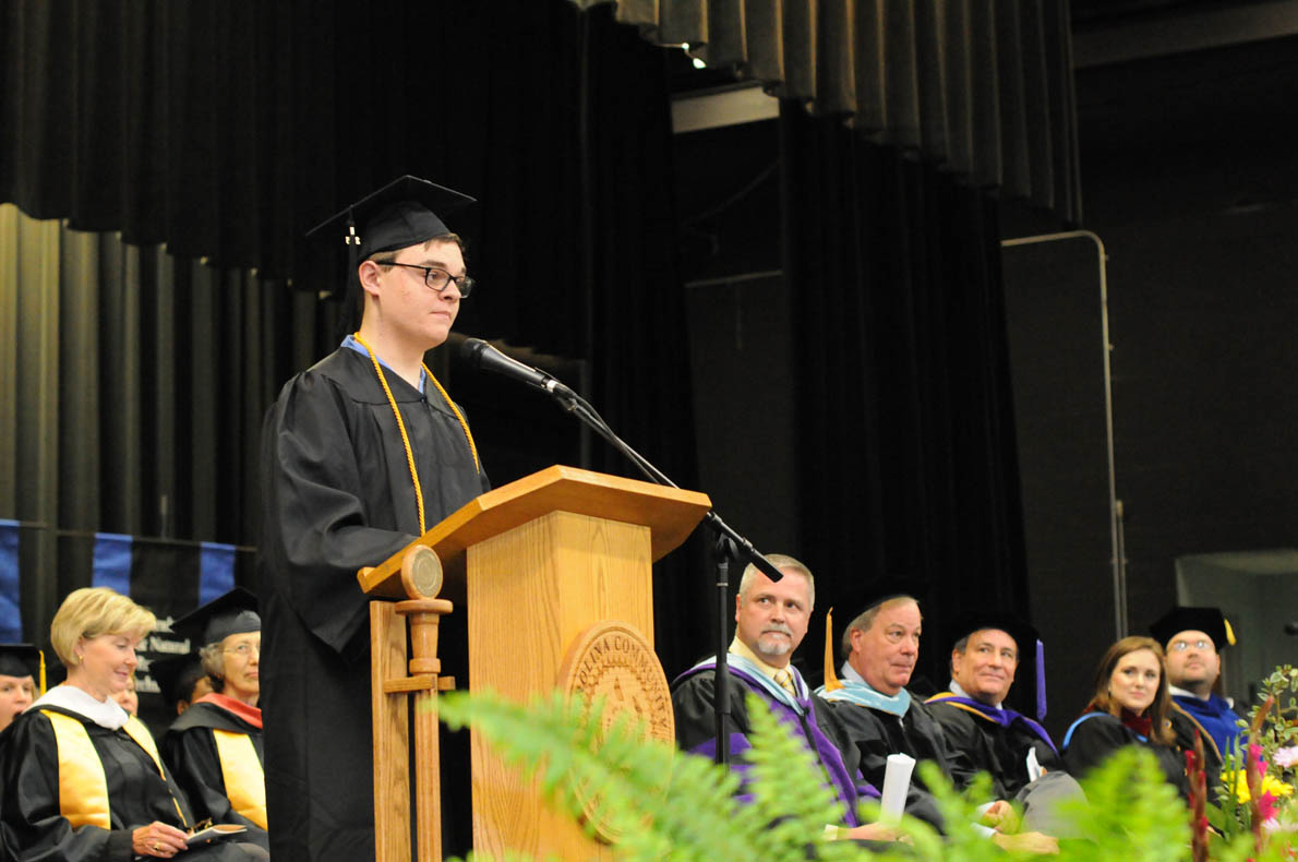 Click to enlarge,  Austin Dowdy, who received the Associate in Arts degree, was the student speaker at the Central Carolina Community College 11:30 a.m. commencement exercises at the Dennis A. Wicker Civic Center.